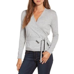 Chelsea28 Grey Ballet Wrap Tie Sweater